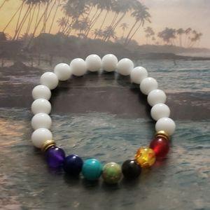 Jewelry - 🧘♂️NWT 7 Chakra Healing Balance White bracelet